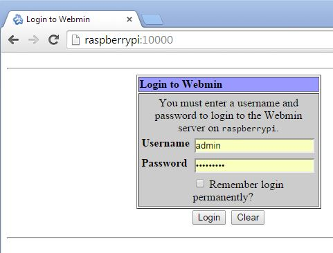 raspberry-pi-webmin-login